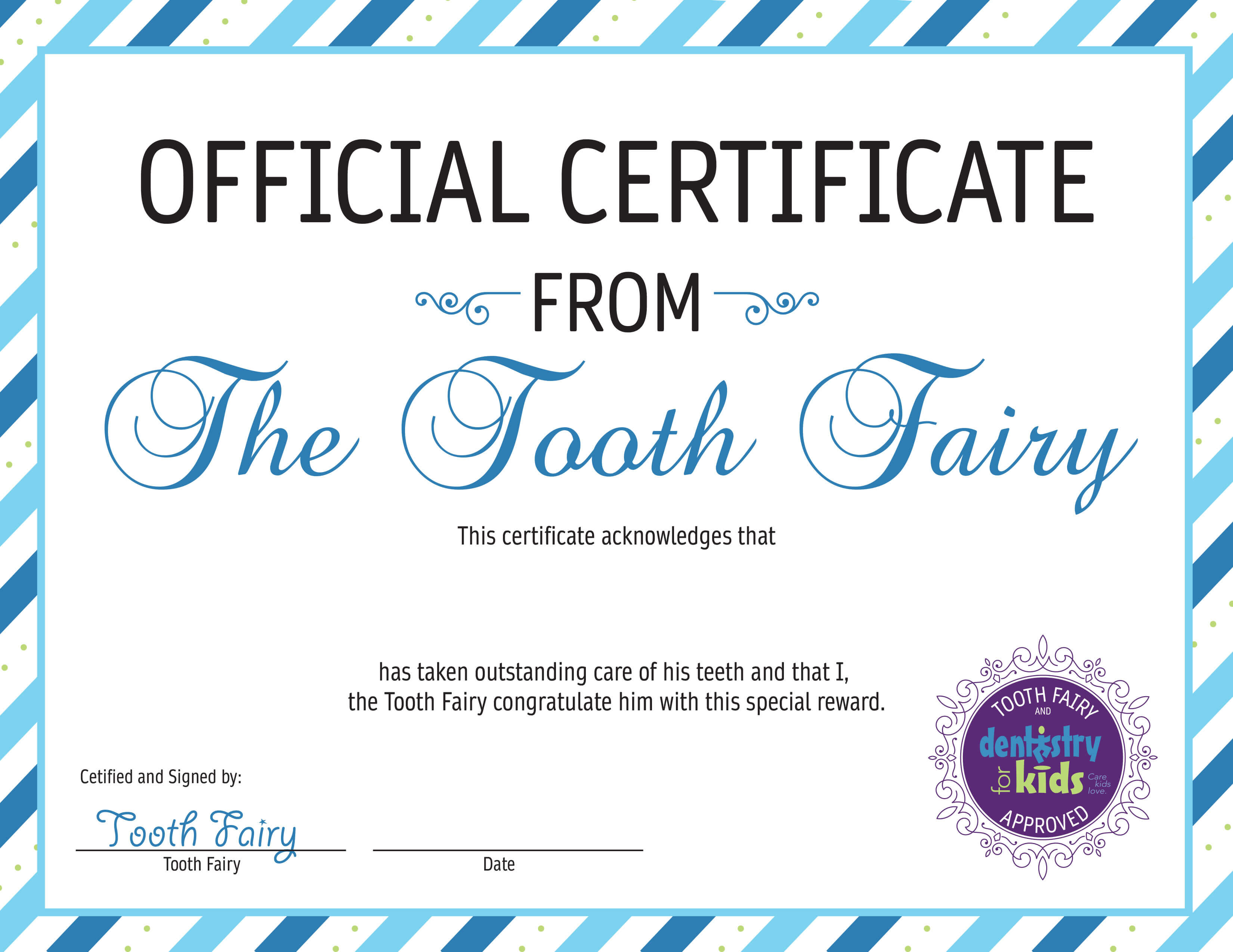 image regarding Tooth Fairy Certificates Printable referred to as Teeth Fairy Dentistry For Little ones Reno Reno, NV